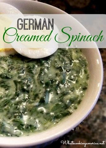 German Creamed Spinach - better than steak house!   whatscookingamerica.net #creamed #spinach #german #christmas #thanksgiving