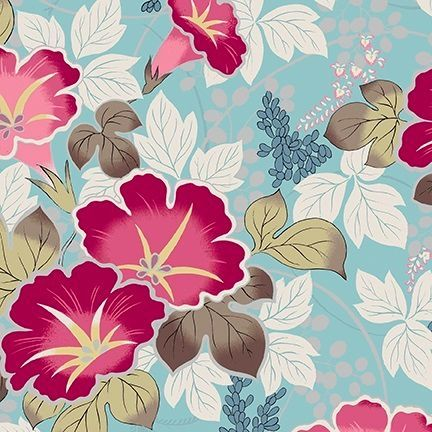From the Hyakka Ryoran Shiki range this Japanese fabric is stunningly beautiful with foral patterns on a variety of backgrounds.