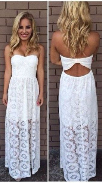 Dress white lace dress sexy summer outfits maxi dress classy