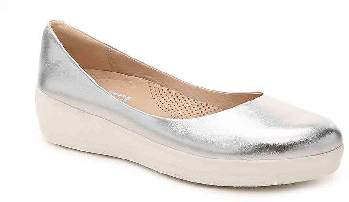 4abdb10ba60511 Women Super Ballerina Leather Ballet Flat -Grey Textured Metallic in ...
