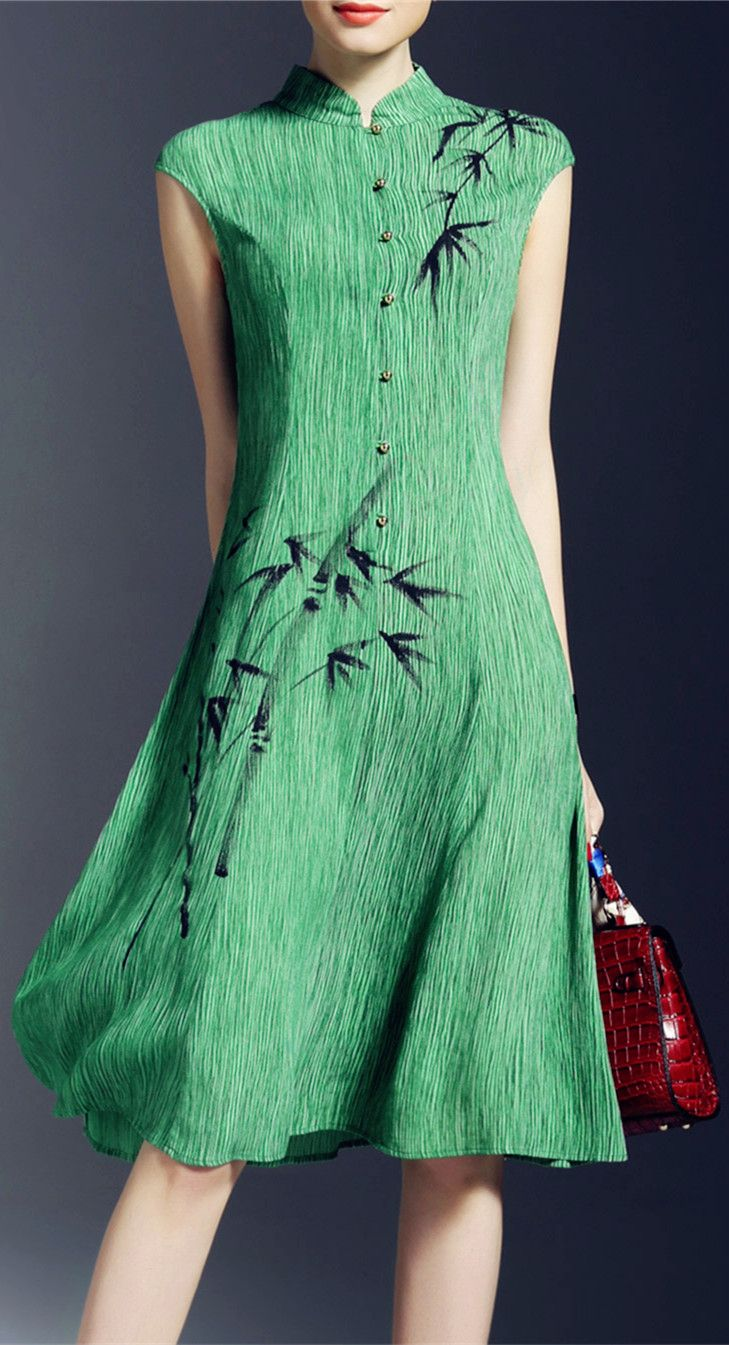 Bamboo Print A Line Dress