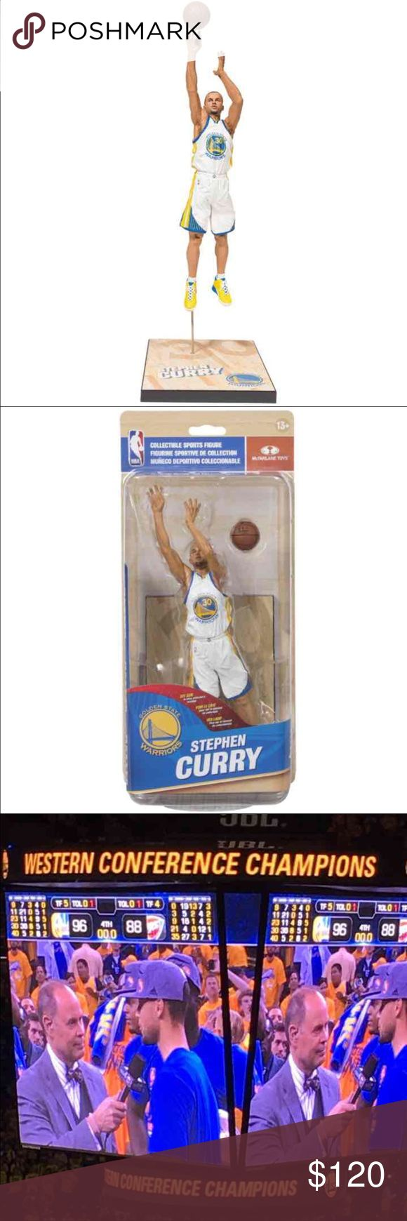 """Warriors Steph Curry Collectable Figure NBA Golden State Warriors' Stephen Curry Action Figure.  Curry is immortalized taking yet another impossible shot in his white Golden State Warriors home uniform Figure is showcased on a basketball court sectional base with the player's name and team logo   Figure stands approx. 6"""" tall Sold in NBA-themed packaging.  Allow 2 days to ship.   Retail $120 Brisette #22 Other"""