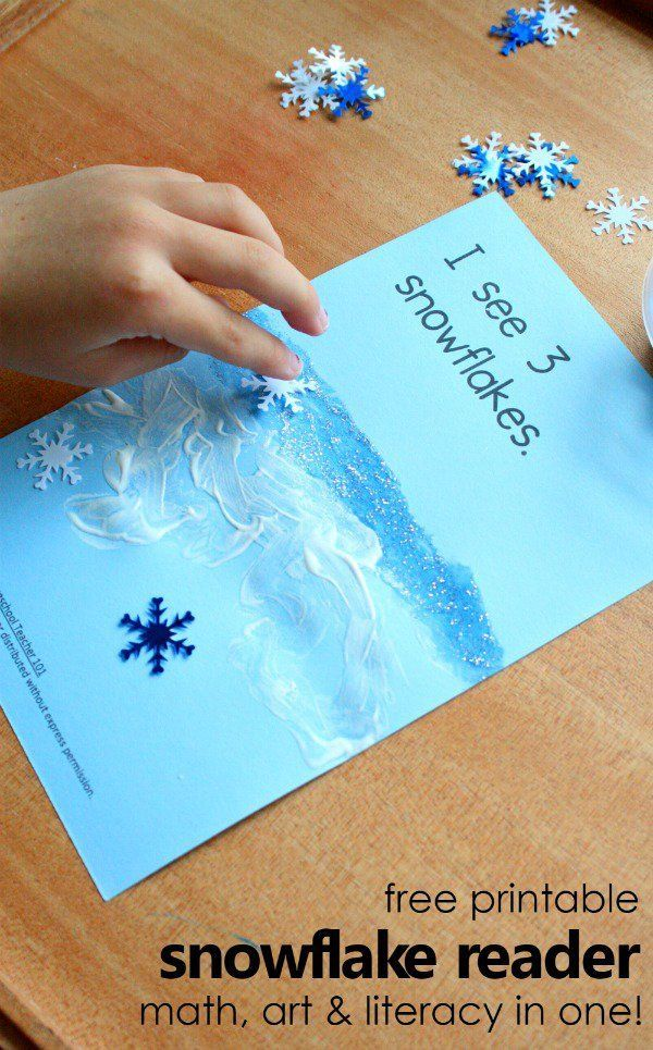 free printable snowflake emergent reader for preschool and kindergarten-fun math art and literacy winter activity in one!