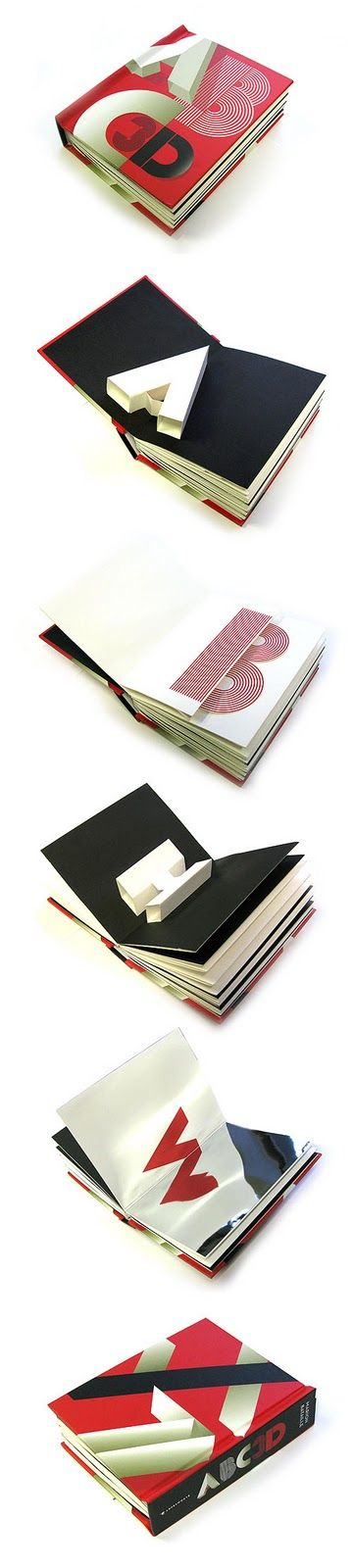 A pop up book of type showing the transformation from 2D to 3D. A great representation of the perception of type.