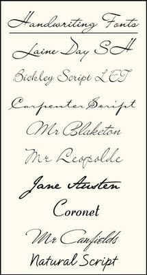 Handwriting Fonts for tattoo: Loove the Jane Austen and Bickley