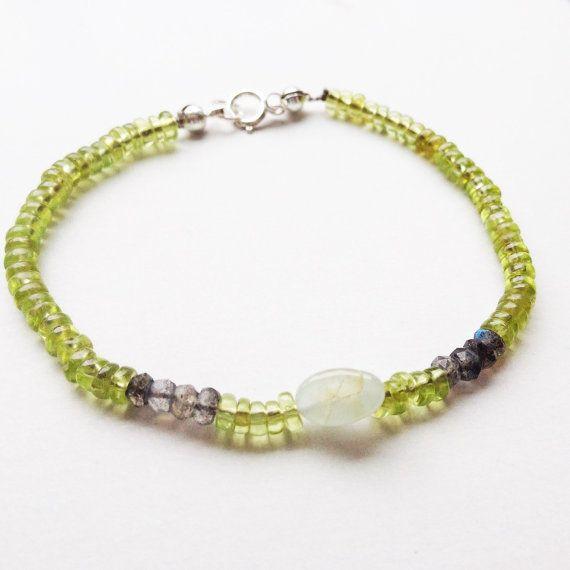 Gemstone Beaded Bracelet Peridot/ Iolite/ Aquamarine by mariaidadesigns