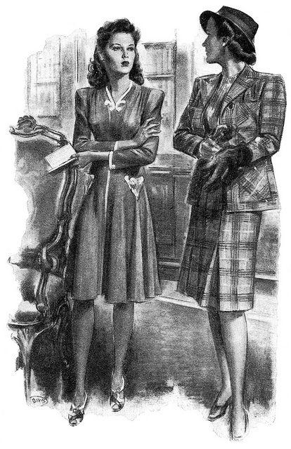 1000 Images About 1940s Fashion On Pinterest: 1000+ Images About VINTAGE WOMEN ILLUSTRATION On Pinterest