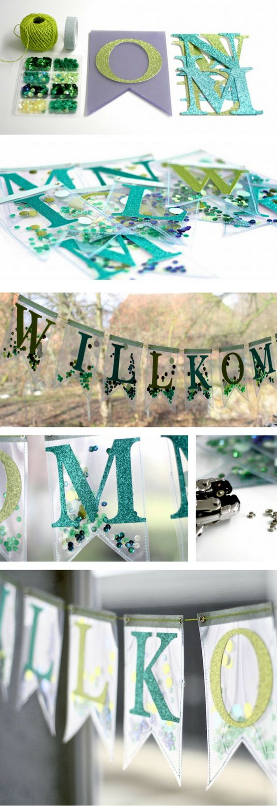 How to use papercrafts to create this welcome bunting with some Sizzix Dies