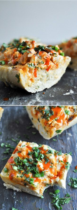 30 Minute Buffalo Chicken French Breads I http://howsweeteats.com
