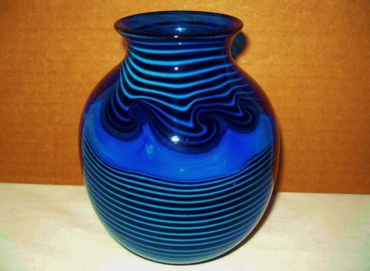 mind blowing blue 1982 signed roland glass vase exquisite subtle iridescence - Broken Glass Vase