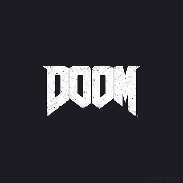 One of the most recognizable game logos. Doom. Original Doom logo was illustrated by Don Ivan Punchatz. #doom #logo #branding #logothorns