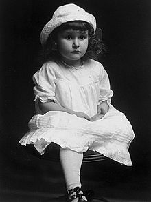"""Claudia Alta Taylor, Lady Bird Johnson, about three years old.  Though she was named for her mother's brother Claud, during her infancy, her nurse, Alice Tittle, commented, she was as """"purty as a ladybird,"""" which is a brightly colored beetle. That nickname virtually replaced her actual first name for the rest of her life. Her father and siblings called her Lady, though her husband called her Bird, which is the name she used on her marriage license."""