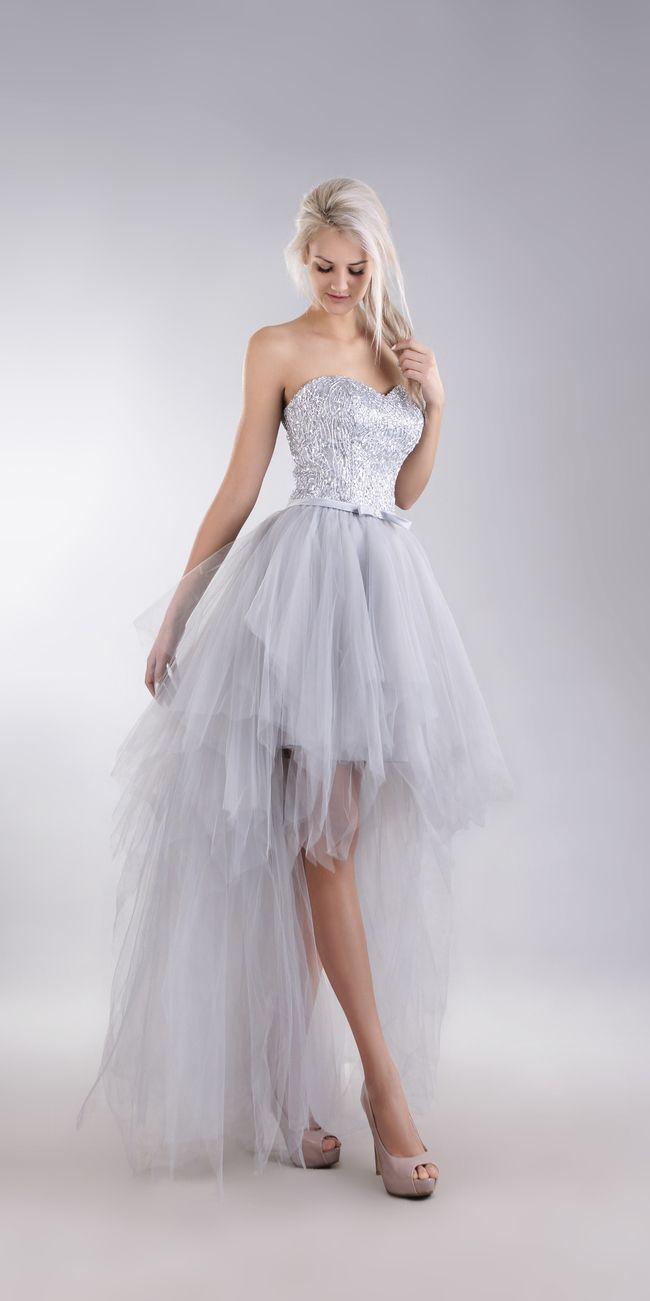 sukienka tiul srebrna