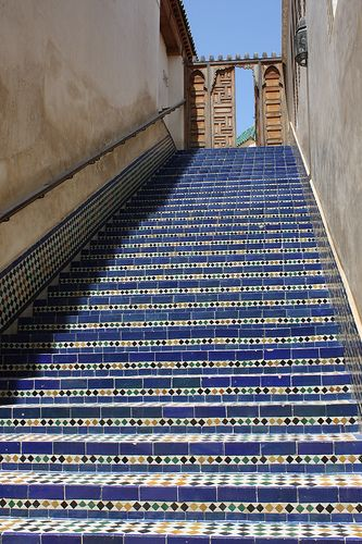 Library Steps   Fez, Morocco Handmade tiles can be colour coordinated and customized re. shape, texture, pattern, etc. by ceramic design studios