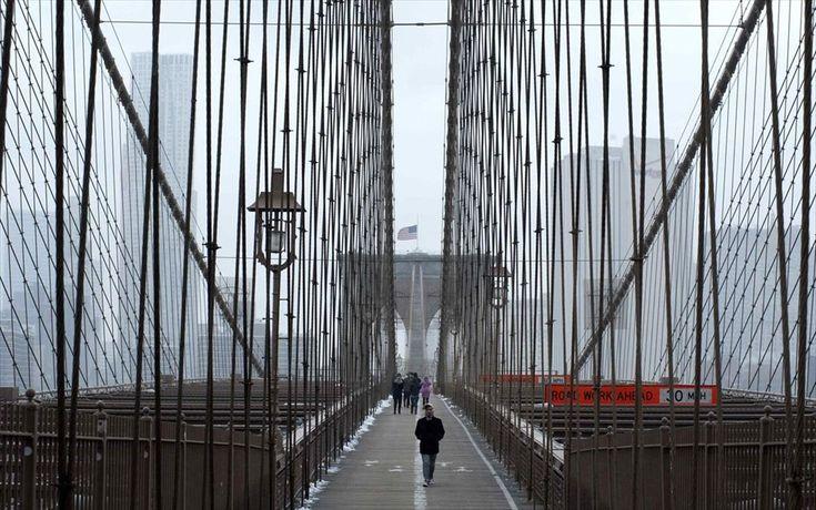 Καιρός - ΗΠΑ - Χιονοθύελλα - Νέα Υόρκη. Γέφυρα του Μπρούκλιν.