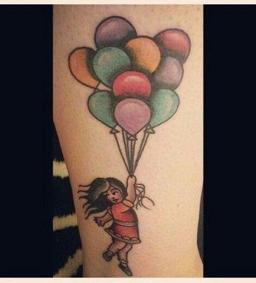 Simbolica Terneza En Tatuajes De Niños Con Globos Niños Con Globos Tatuajes De Niños Tatuaje De Globo