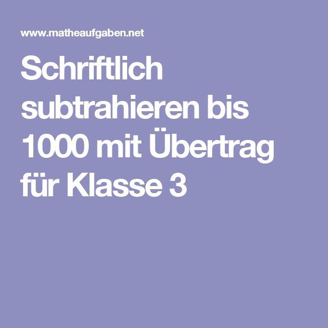 Schriftlich subtrahieren bis 1000 mit Übertrag für Klasse 3