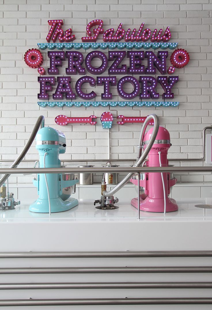 Located in San Pedro Garza Garcia, Mexico, 'The Fabulous Frozen Factory' interior by Mexican designer Jakob Gomez is informed by the cryogenically created ice cream they make in-store. #IceCream #Mexico #RetailDesign