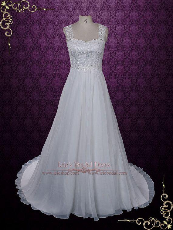 Grecian gasa vestido de novia encaje ojo de la cerradura por ieie