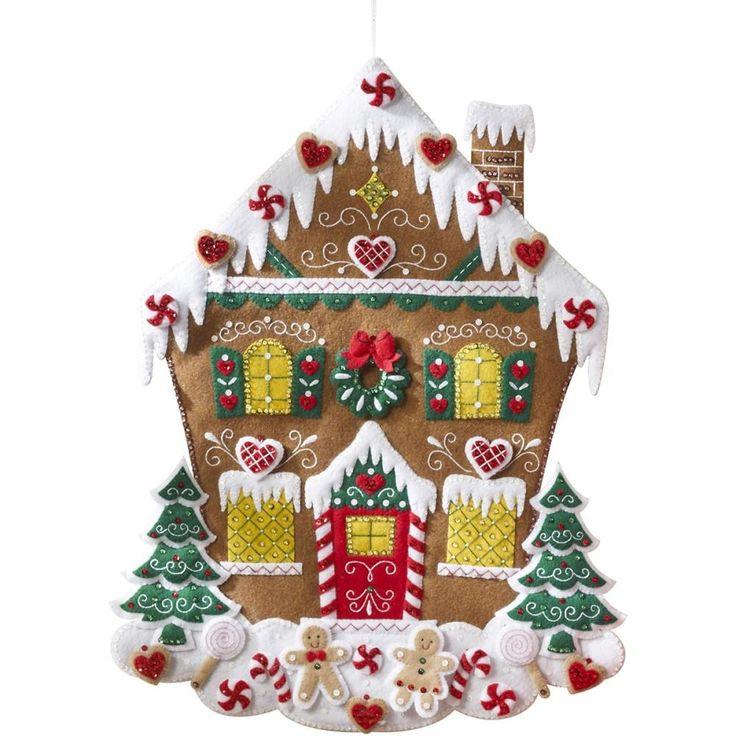 "Nordic Gingerbread House Felt Applique Kit-18""x23"""