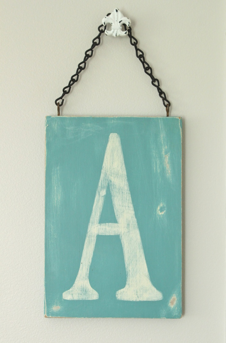 Vintage Letters Wall Decor : Wood wall art letter sign vintage style via