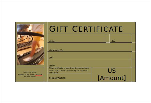 If you are looking for a fitting gift certificate on behalf of your fitness institute, this gift certificate here with the picture of a running treadmill at the left would be great for you. The space below the picture is to be filled with the information of your company. The right side is all about the certificate details.