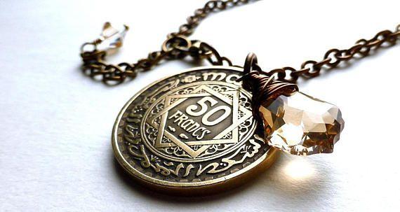 Moroccan coin necklace Swarovski necklace Vintage coin