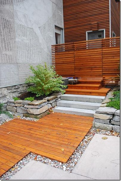 Wood walkway - build a seating area off side of front of house
