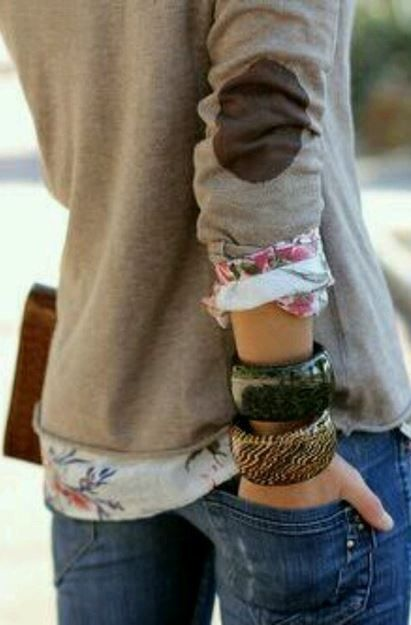 elbow patches + floral, like the rolled hem of the sweater and the neutral of the sweater
