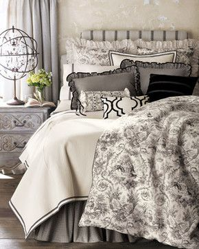 Dransfield & Ross Les Jardins Bed Linens King Toile Duvet Cover - traditional - duvet covers - Horchow