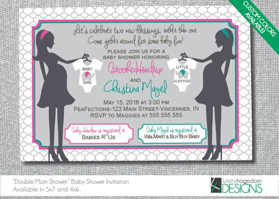 Mothers Double Baby Shower Invitation - Custom Colors - Digital File Only