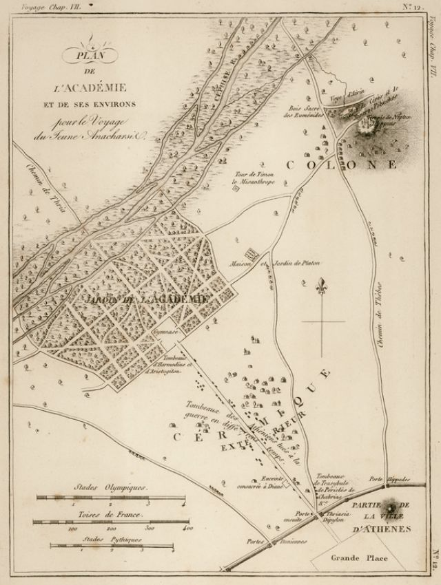 Χάρτης της Ακαδημίας, του Κολωνού, και του Κεραμεικού, στην Αθήνα. - BARTHÉLEMY, Jean Jacques - ME TO BΛΕΜΜΑ ΤΩΝ ΠΕΡΙΗΓΗΤΩΝ - Τόποι - Μνημεία - Άνθρωποι - Νοτιοανατολική Ευρώπη - Ανατολική Μεσόγειος - Ελλάδα - Μικρά Ασία - Νότιος Ιταλία, 15ος - 20ός αιώνας