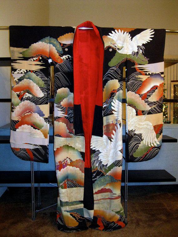 Vintage Kimono robe formal furisode by SpatialAlchemy on Etsy |