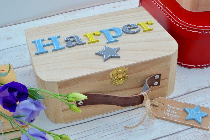 Baby Memory Box Keepsake Box Children's suitcase style Memory Box New Baby Gift Birthday Gift Personalised Memory Box by Popsyclunk on Etsy
