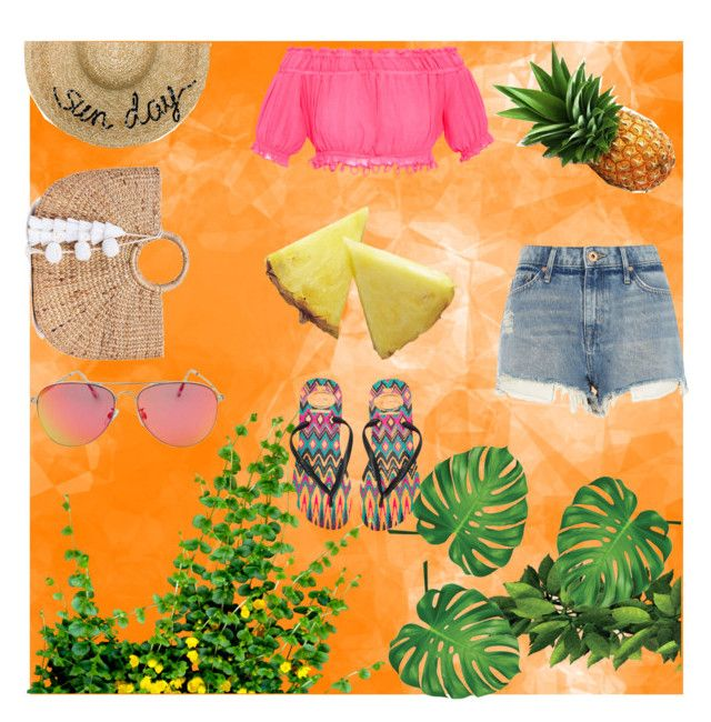 """summer"" by tate-mafa ❤ liked on Polyvore featuring Eugenia Kim, JADE TRIBE, Apiece Apart, Topshop, River Island and Havaianas"