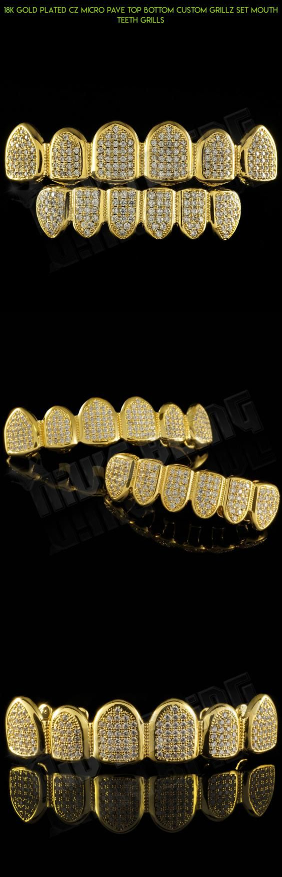 18K Gold Plated CZ Micro Pave Top Bottom CUSTOM GRILLZ SET Mouth Teeth Grills #grills #kit #tech #bottom #technology #products #fpv #camera #gadgets #drone #plans #parts #shopping #teeth #racing
