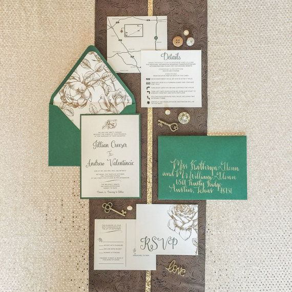 5x7 Metallic Gold Floral & Forest Green by BrownFoxCreative