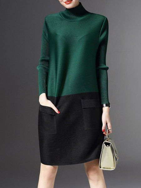 Shop Green H-line Long Sleeve Turtleneck Color-block Sweater Dress Online.  The world's most-coveted and unique designer apparel - Sexyplus everyday.