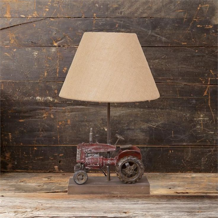 New Primitive Country Farmhouse RUSTIC TRACTOR LAMP Electric Table Light #Country