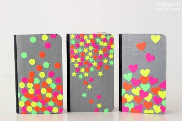 neon confetti notebook decoration