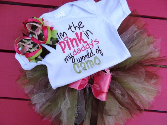 Im the Pink in my Daddy's world of camo by PrincessesRuffles, $40.00