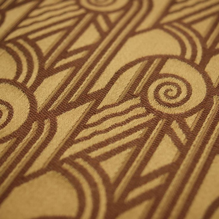 Art Deco Art Nouveau Gold And Brown Flat-Weave Curtain and Upholstery Fabric | Archive Edition Deco Scroll Gold from Loome Fabrics