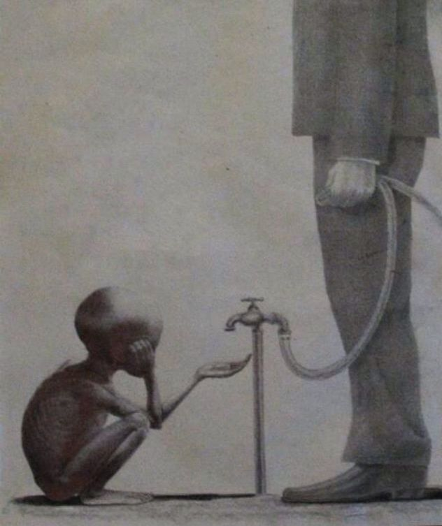 This photo is powerful because it shows of some of the rich is selfish not to give those people who are in need of they have. Some have more than what they need but still are not willing to realize there are people who are begging at least a little bit of what they have.  Such a powerful picture
