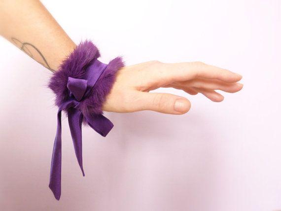 Electric purple fur cuff with silk ties by Joliejye on Etsy, €69.00