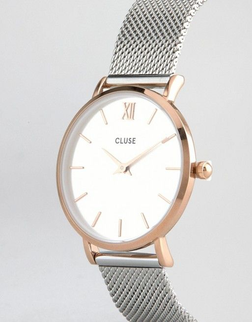 Cluse | Cluse Minuit Rose Gold & Silver Mesh Watch CL30025