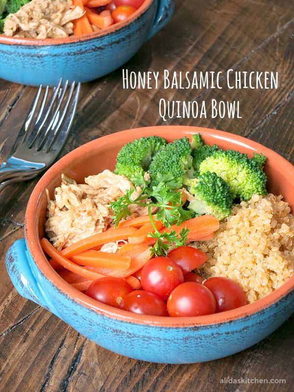 An easy Honey Balsamic Chicken Quinoa Bowl #recipe #healthy // #TrendingintheKitchen #ad | alidaskitchen.com