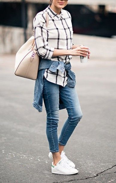 Shirt - shirt denim slim jeans skinny jeans nude bag stan smith denim jacket outfit street style summer idea checkered tartan
