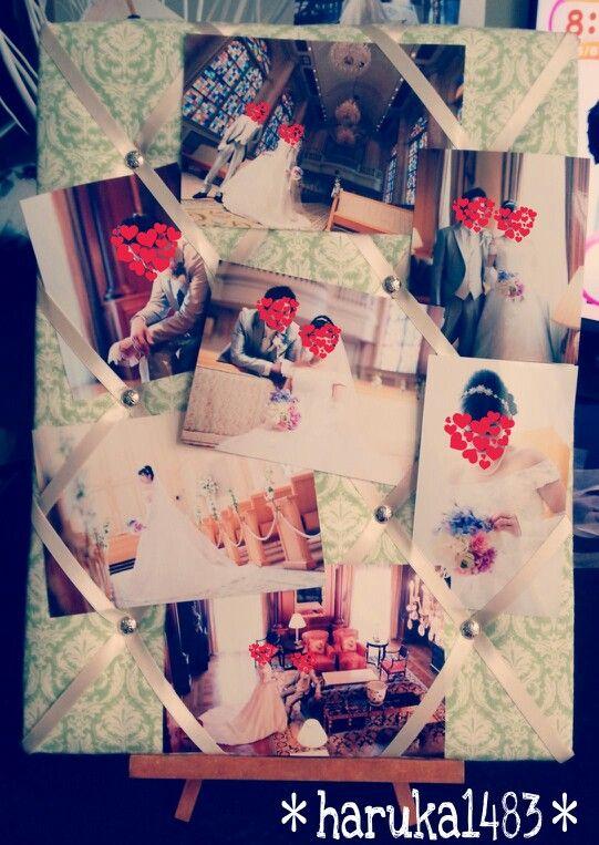 *DIY for my wedding*フォトボード♡家にあったコルク ボードにキルト芯、布、リボンで作成♡これは旦那様が頑張りました (*´艸`) #フォトボード #ウェルカムグッズ #ウェディング #手作り結婚式