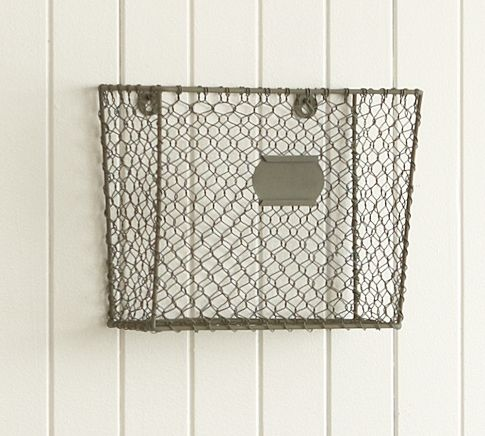 Wire Mesh Wall-Mount Magazine Rack (for the mail slot that comes into our new house - very tired of mail all over the floor): Wire Mesh, Wall Mount Magazines, Magazines Racks, Mesh Wall Mount, Magazine Racks, Wire Baskets, Wallmount Magazines, Pottery Barns, Desks Accessories