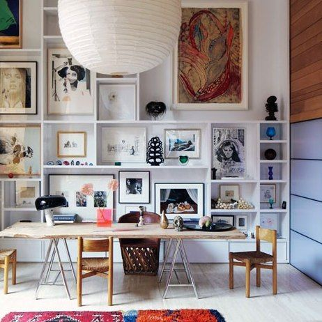 shelving + art...inez van lamsweerde and vinoodh matadin's manhattan apartment architectural digest